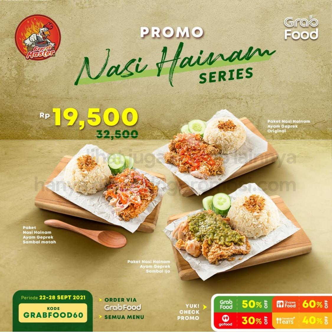 Promo AYAM GEPREK MASTER Paket HAINAM SERIES cuma 19 RIBUAN! khusus pemesanan via GRABFOOD