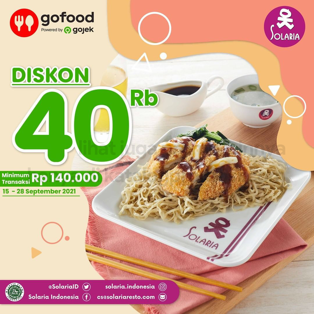 PROMO SOLARIA DISKON hingga Rp. 40RIBU khusus pemesanan via GOFOOD