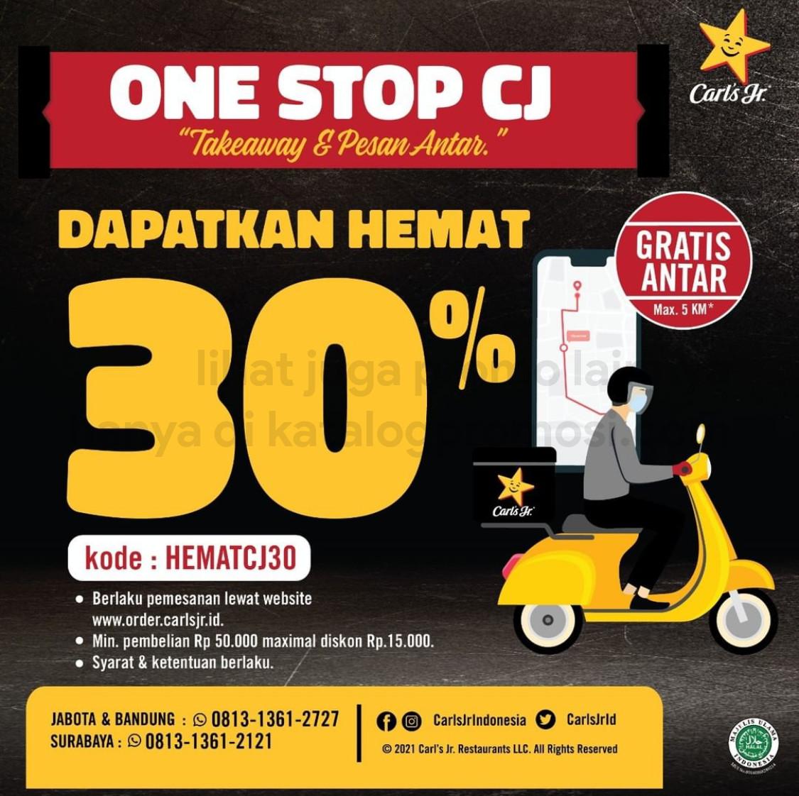 Promo Carl's Jr DISKON 30% untuk pemesanan lewat One Stop CJ!